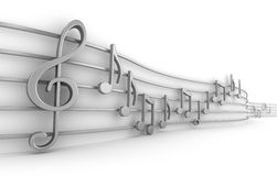 Set of nine musical notes Royalty Free Stock Photography