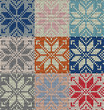 Set of nine nordic knitted seamless pattern. EPS 10 vector Royalty Free Stock Image