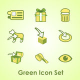 A set of nine objects on a green background Stock Photos