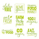 Set of nine organic food logo with lettering. Healthy food hand drawn text combinations. Green lettering on white background vector illustration