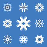 Set of Nine Original Snowflakes. Royalty Free Stock Image
