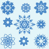 Set of Nine Original Snowflakes. Royalty Free Stock Photography
