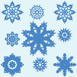 Set of Nine Original Snowflakes. Stock Images