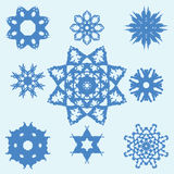Set of Nine Original Snowflakes. Stock Photos