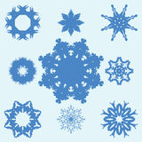 Set of Nine Original Snowflakes. Stock Image