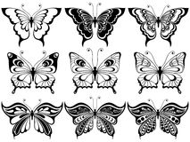 Set of nine ornamental butterflies Stock Photography