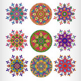 Set of nine ornamental round lace pattern. Stock Photo