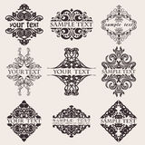 Set Of Nine Ornate Banner Text Quad Stock Image