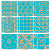 A set of nine patterns of turquoise with orange squares in diffe Stock Photography