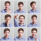 Set of nine pictures of pretty young man with different gestures and emotions Royalty Free Stock Image
