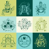 Set of nine pictures for St. Patrick's Day Royalty Free Stock Images