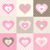 Set of nine pink hearts in country style, illustration Stock Images