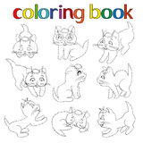Set of nine playful kittens for coloring book Royalty Free Stock Photo