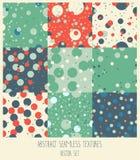 Set of nine polka dot seamless backgrounds Royalty Free Stock Photo