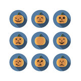 Set of nine pumpkins with emotions flat Royalty Free Stock Photography