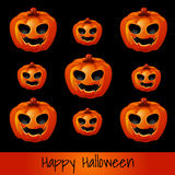 Set of nine pumpkins for Halloween Stock Photography