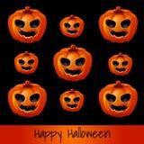 Set of nine pumpkins for Halloween Stock Photography