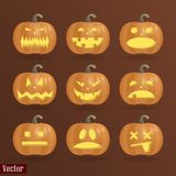 A set of nine pumpkins for Halloween with different emotions. On a brown background. Vector image vector illustration