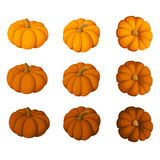Set of nine pumpkins isolated on a white backgroun Stock Images