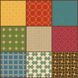 Set of nine retro simple geometric seamless patterns Stock Photography