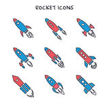 Set of nine rocket or spaceship icons isolated Royalty Free Stock Photo