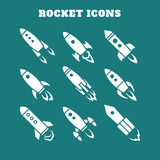 Set of nine rocket or spaceship icons isolated Stock Images