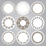 Set of nine round frames in luxury style. Eastern motifs. Stock Photography