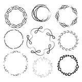 A set of nine round frames. Manual sketch. Stock Image