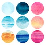 Set of nine rounded watercolor gradients and textures. abstract sea, sand, sky, clouds, sunset. stock photo