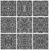 Set of Nine Seamless Abstract Pattern Vectors. A collection of nine, hand-drawn, seamless abstract backgrounds or patterns in format stock illustration