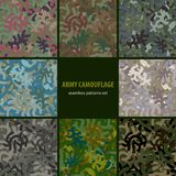 Set of nine seamless camouflage patterns Stock Photography