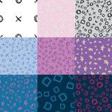 Set of nine seamless doodle shapes patterns stock illustration