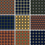 Set of nine seamless ornamental patterns. Stock Image
