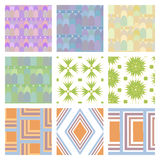 Set of nine  seamless patern. Stock Photography