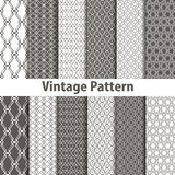 Set of nine seamless pattern in retro style Royalty Free Stock Image