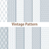 Set of nine seamless pattern in retro style Stock Images