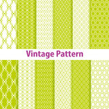 Set of nine seamless pattern in retro style Stock Image