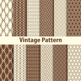 Set of nine seamless pattern in retro style Royalty Free Stock Photography