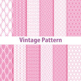 Set of nine seamless pattern in retro style Stock Photos