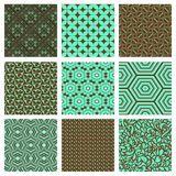 Set of nine seamless pattern in retro style. Royalty Free Stock Image