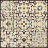 Set of nine seamless pattern white colorful ornaments. Stock Photo
