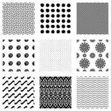 Set of nine seamless patterns. Black version royalty free illustration