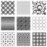 Set of nine seamless patterns. Black version vector illustration