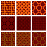 A set of nine seamless patterns. Bright African colors. Stock Image