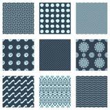 Set of nine seamless patterns. Set of nine creative modern seamless patterns vector illustration