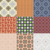 Set or nine seamless patterns. Set of nine different abstract geometrical seamless patterns. Wallpaper backgrounds for your design.Vector illustration Royalty Free Stock Images