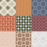 Set or nine seamless patterns Royalty Free Stock Images