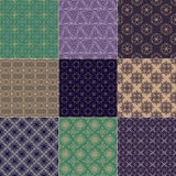 Set of nine seamless patterns Stock Photography