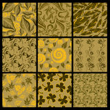 Set of nine Seamless  patterns from leaves Stock Photography