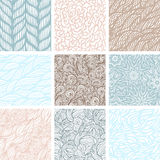 Set of nine seamless patterns Stock Image